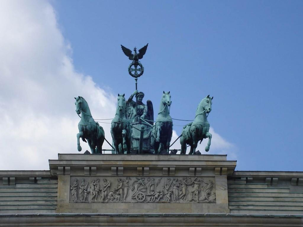 Detalhe do Portão de Brademburgo, em Berlim. Foto: Marcelle Ribeiro.
