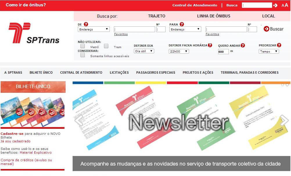 No topo do site da SPTrans, você preenche os endereços e acha o ônibus. Foto: Reprodução
