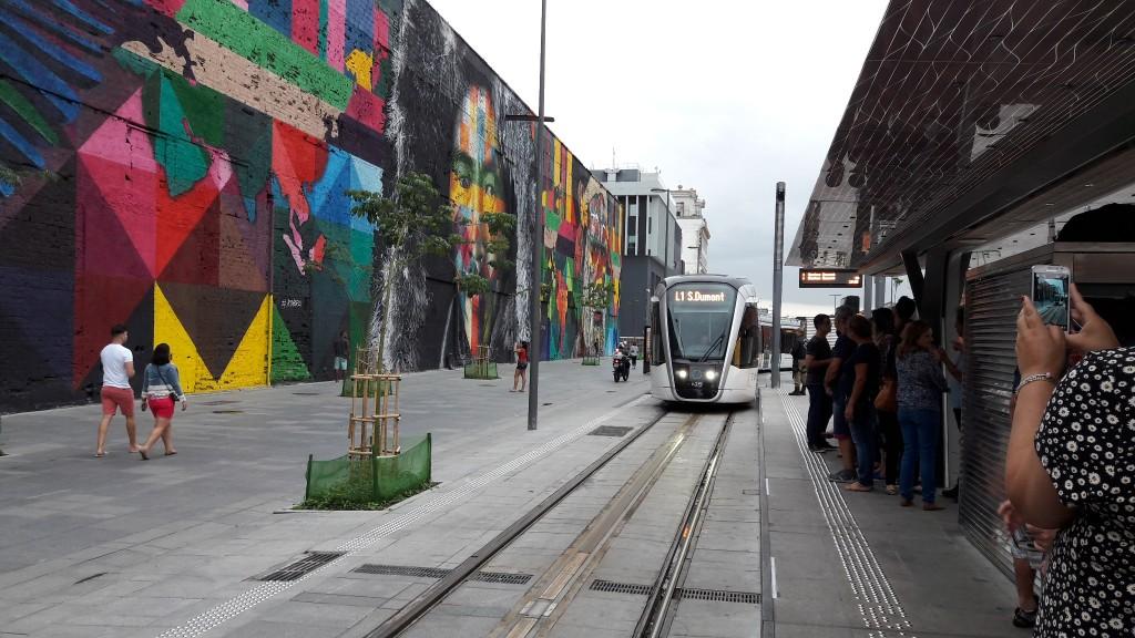 Ponto do VLT do Rio de Janeiro na região da Praça Mauá. Foto: Marcelle Ribeiro.