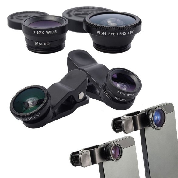 kit de lentes para celular fisheye macro zoom wide