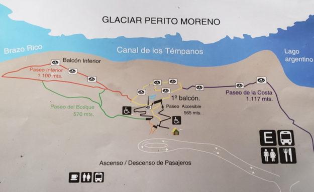 mapa trilhas glaciar perito moreno