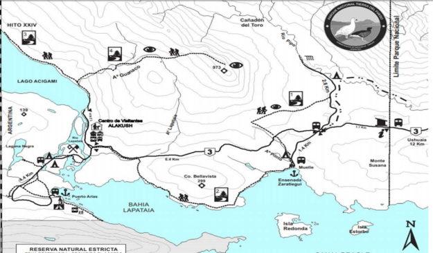mapa trilhas parque nacional Tierra del Fuego